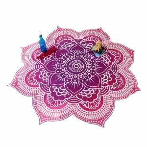 toalla redonda chakra 8 petalos rosa