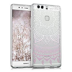funda celular transparente con mandala blanco para Huawei P9 plus