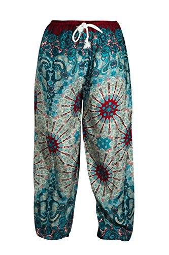 pantalones algodón cómodos con mandala azul celeste y grana