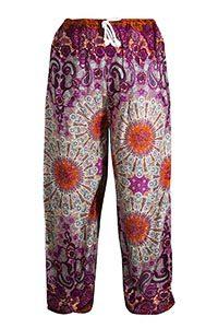pantalones algodón verano ligeros con mandala y motivos morados y naranjas