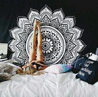 tapiz de pared negro con mandala blanco tamaño gigante