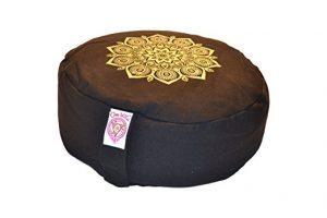 zafu negro con mandala dorado