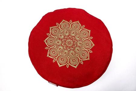 zafu mandala rojo bordado