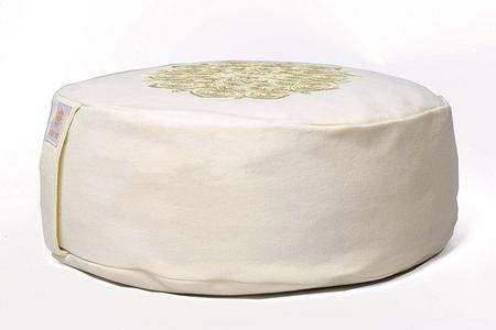 zafu mandala bordado blanco