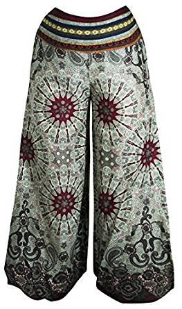 pantalones algodón verano yoga blancos con mandalas en granate y gris verdosos