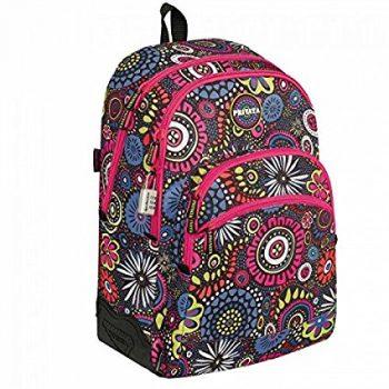 mochila unisex privata doble bolsillo estampado negro, detalles rosa con mandalas