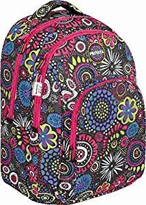 mochila unisex escolar privata negro con detalles rosas y estampado mandalas