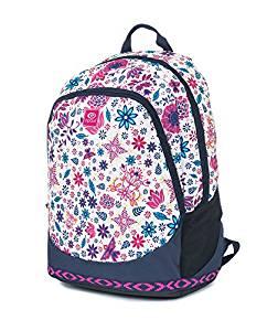 mochila niña escolar rip curl color blanco con refuerzos gris con estampado floral colores