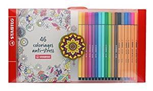 Rotuladores Stabilo caja de 48 colores más libro de colorear mandalas