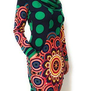 vestido de invierno de lana con cuello holgado, estampado en lunares verdes con mandala en la falda y bolsillos