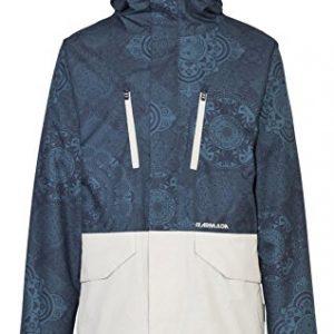 chaquetón mujer con capucha para la nieve en color azul grisáceo con mandalas y bolsillos en blanco
