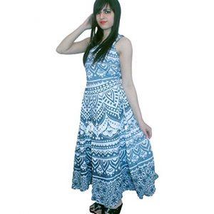 vestido mujer verano con mandala gigante turquesa
