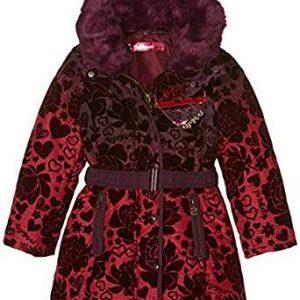 Abrigo niña desigual modelo sinita en color granate con estampado de rosas en terciopelo