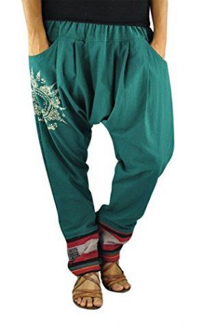 pantalon unisex bombacho color esmeralda, granate o gris, tobillos enriquecidos con dibujo sol lateral