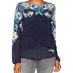 blusa capeada azul navy con mandalas celestes
