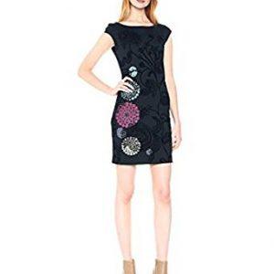 vestido negro encaje bordado lateral