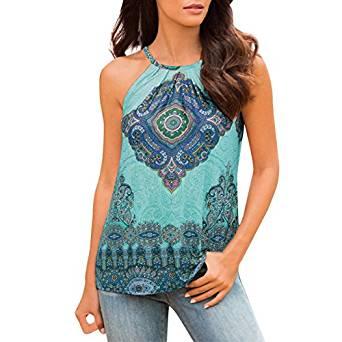 Camiseta turquesa con mandala y tirantes
